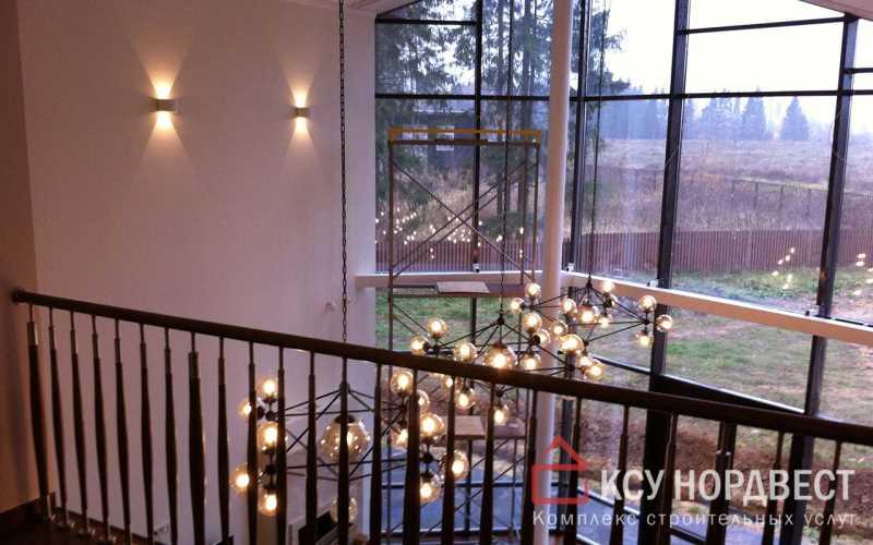 Отделка гостиной со вторым светом и большими панорамными окнами