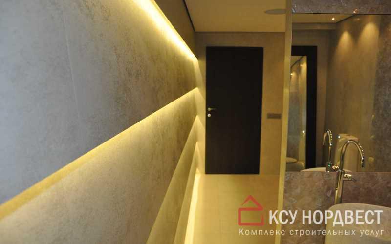 Отделка ванной комнаты с подстветкой светодиодными лентами