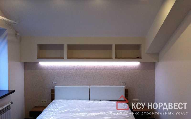 Поклейка обоев на стены, монтаж декоративных элементов из ГКЛ, установка светодиодной подсветки