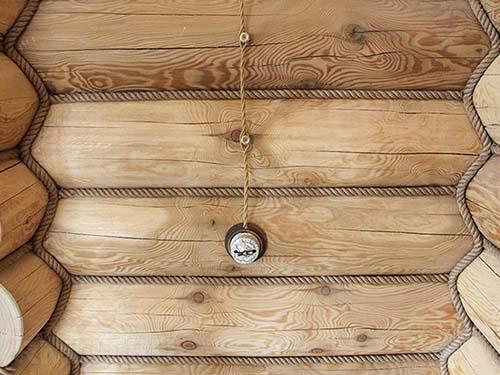 отделка сруба декоративным канатом