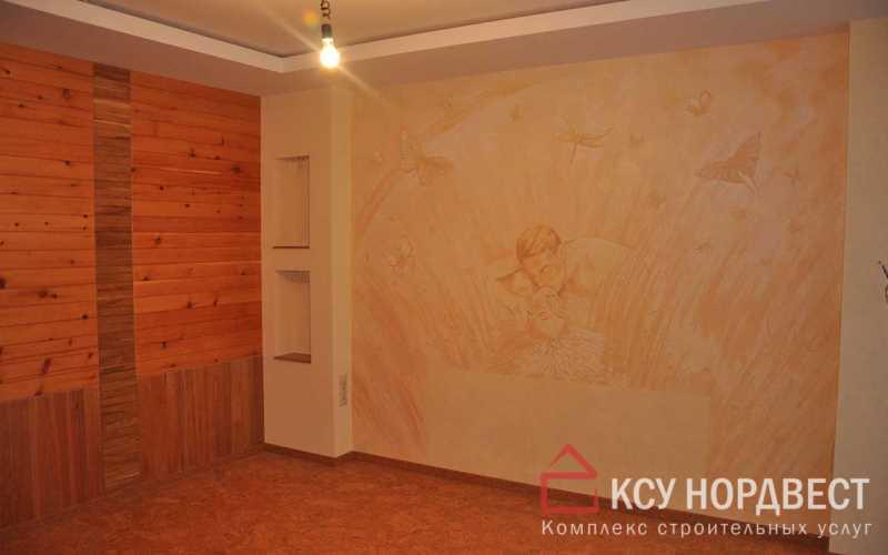 Обшивка стен вагонкой, монтаж подвесного потолка из гипсокартона, нанесение рисунка на стены