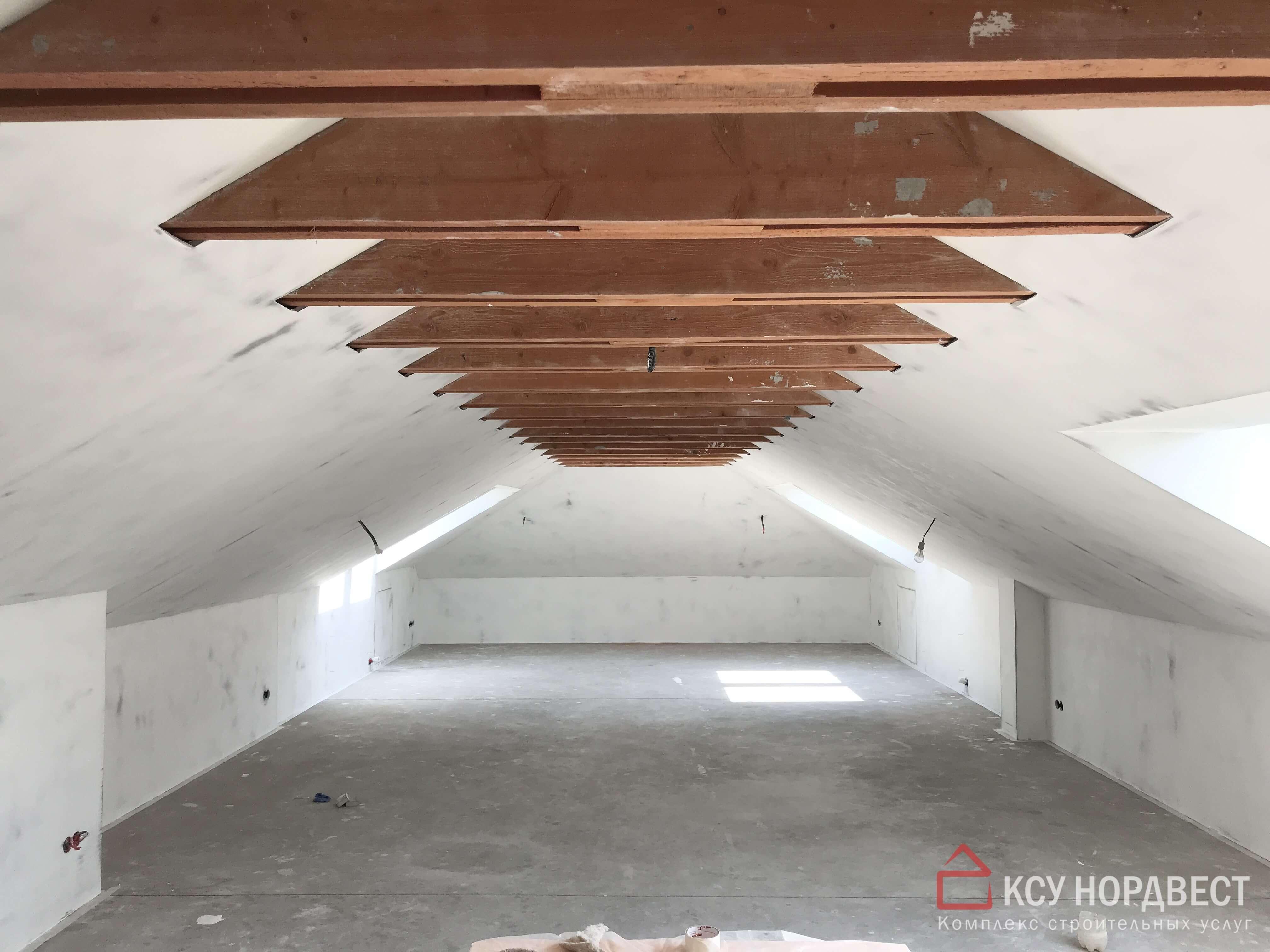 стена и потолок после черновых работ