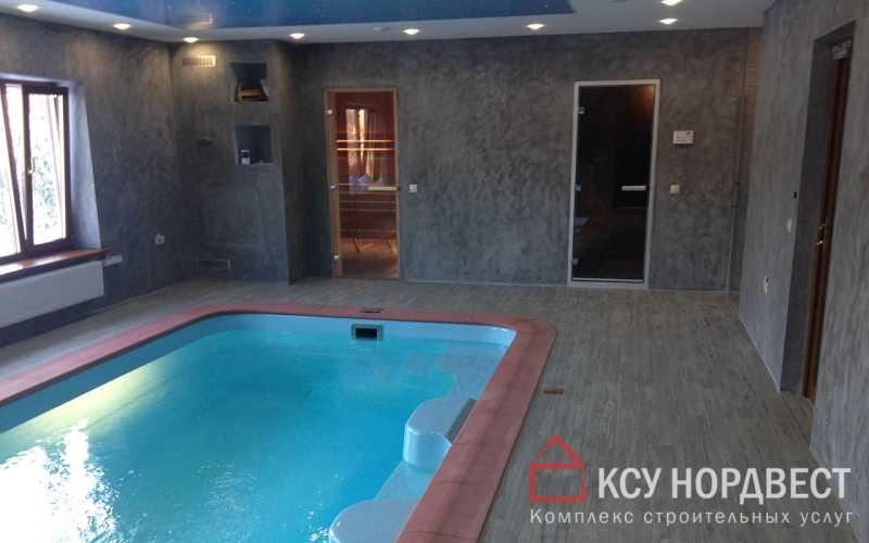 Монтаж композитного бассейна, отделка стен декоративной штукатуркой, укладка плитки на пол